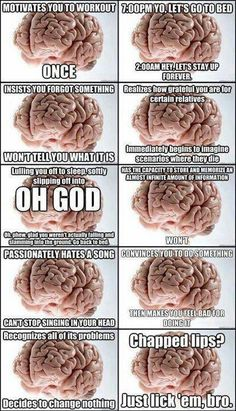 The brain is the biggest troll and he likes it.