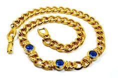 Vtg Thick Heavy Gold Tone Statement Necklace Cubin Link Runway with Cobalt Blue