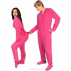Hot Pink Fleece Footed Pajamas with Drop Seat - *LIMITED SIZES*