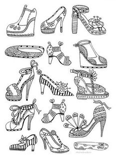 High heels coloring page for adults --> If you're in the market for the best adult coloring books and supplies including colored pencils, drawing markers, gel pens and watercolors, check out our website at http://ColoringToolkit.com. Color... Relax... Chill.