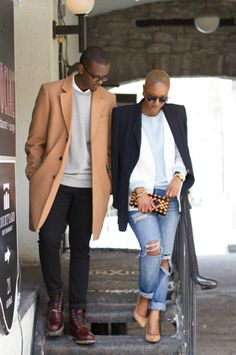 Loving this chic combo by this stylish couple! Perfect for colder days...and a camel coat is a must have in his (and her) closet!!