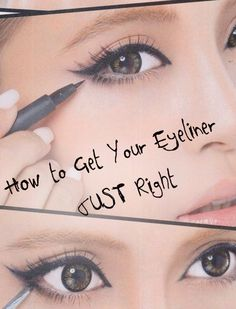 How to draw your Eyeliner JUST right. Makeup tips and tricks. Love this look more natural not as exaggerated All Things Beauty, Beauty Make Up, Hair Beauty, Beauty Magic, Make Up Tricks, How To Make, Beauty Secrets, Beauty Hacks, Beauty Products