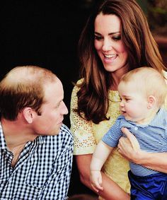 Wills, Kate, and George..really cute moment between these three!  Look how Prince George is making eye contact with PRince William and Mom knows it!
