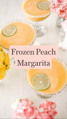 Mimosa Discover Frozen Peach Margarita: A step-by-step recipe by Lauren Conrad Co. Summer Drinks, Cocktail Drinks, Fun Drinks, Cocktail Recipes, Alcoholic Drinks, Recipes Dinner, Peach Margarita, Watermelon Smoothies, Alcohol Drink Recipes