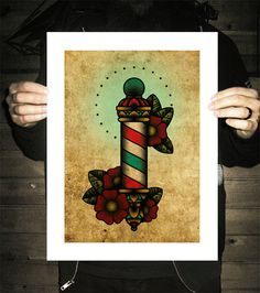 Barber Poll Neo-Traditional Tattoo Flash Old School by BlackMast