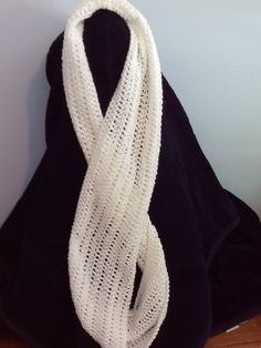 Infinity Scarf in White with Silver Threads