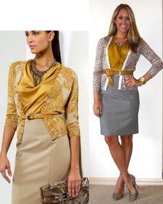 Grey Skirt / Leopard Cardi / Chartreuse Silk Top & Belt / Grey Shoes