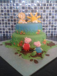 Peppa pig two tier birthday cake
