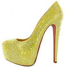 Chaussure Louboutin Pas Cher Pompe Daffodile 160mm Jaune Strass #shoes