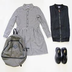 Long Sleeve Check Shirt Dress http://www.thewhitepepper.com/collections/dresses/products/long-sleeve-check-shirt-dress Denim Bomber Jacket Black http://www.thewhitepepper.com/collections/coats-jackets/products/denim-bomber-jacket-black Polka Dot Backpack Black http://www.thewhitepepper.com/collections/bags/products/polka-dot-backpack-black Leather Chunky Heel Brogue Black http://www.thewhitepepper.com/collections/shoes/products/leather-chunky-heel-brogue-black