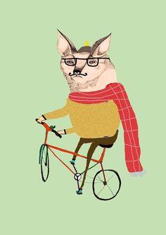 ashley percival drew this fox riding a bike