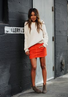 slouchy sweater & mini skirt (Sincerely Jules)