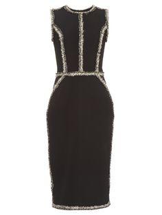 Oscar De La Renta Sleeveless tweed-trimmed pencil dress