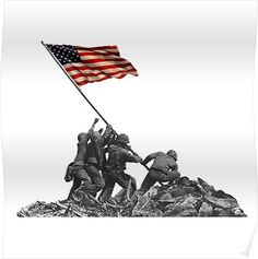 Soldiers Raising US Flag at Iwo Jima Poster Army Tattoos, Military Tattoos, Marine Corps History, Marine Life, Usmc, Marines, Okinawa Tattoo, Iwo Jima Flag, Soldier Tattoo