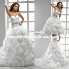 floor length puffy ball gown wedding dress open back | Ball Gown Wedding Dresses in Wedding Dresses from Apparel