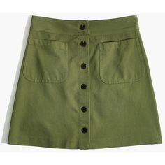 MADEWELL Station Mini Skirt ($80) ❤ liked on Polyvore featuring skirts, mini skirts, birch leaf, green skirt, leaf print skirt, green a line skirt, green leaf skirt and button skirt