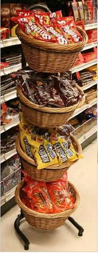 4 Basket Wicker Display| Produce Display Rack | C-Store Displays