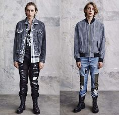 McQ Alexander McQueen 2015 Spring Summer Mens Lookbook Collection Presentation - Mode à Paris Fashion Week Mode Masculine France - Denim Jeans Destroyed Destructed Ripped Frayed Holes Acid Wash Bleached Steel Pattern Print Graphic Bomber Jacket Outerwear Patchwork Boots Cardigan Illustration Slouchy Loose Metallic Silver Shorts Jorts Roll Up Fold Up Socks With Sandals Knit Sweater Jumper Stripes