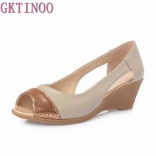 US $27.97 2017 Summer Women Shoes Woman Genuine Leather Sandals Open Toe Mother Wedges Casual Sandals Women Sandals. Aliexpress product