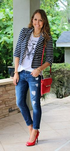 Navy striped blazer, graphic tee, red shoes