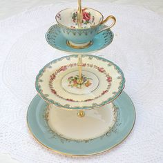 Alice Holds a Blue Cup, Vintage China Cupcake Stand 3 Tier Display for Garden Wedding, Birthday Party or Baby Shower