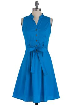 Pigment of the Imagination Dress - Mid-length, Blue, Solid, Casual, Shirt Dress, Sleeveless