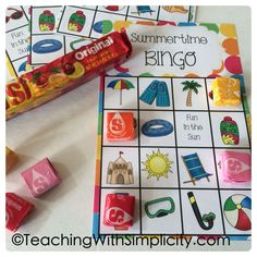 Summertime Bingo, a fun free printable game. It's perfect for the end of the year or summer school!