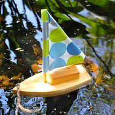DIY toy sailboat with bright squares sail