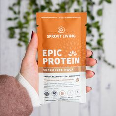 Epic Protein : Chocolate Maca is a thoughtful blend of organic plant protein, prebiotics and nutrient-dense superfoods. With absolutely no additives, it is the purest protein powder you can find. Organic Vegan Protein Powder, Natural Whey Protein, Protein Powder Recipes, Plant Protein, Protein Foods, Healthy Snacks, Healthy Recipes, Healthy Tips, Crockpot Recipes
