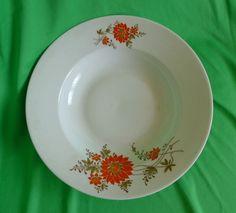 Vintage Altrohlau Porcelain 1918-1939 MZ Czechoslovakia white & red soup plate