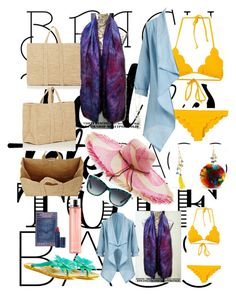 """""""Scarved with Tote @Beach"""" by monetportfolio on Polyvore featuring Marysia Swim, Rosantica, Soeur, Lipstick Queen, Kate Spade, Nannacay and Dolce&Gabbana"""