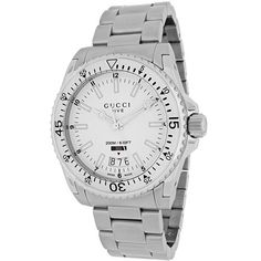 cbc26532302 Gucci Men s Dive Quartz Silver Band White Dial Роскошные Часы