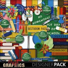 """""""School Life STUDENT"""" Kit The """"School Life"""" Collection is a HUGE digital scrapbooking series!  There is a """"Teacher"""" Kit and a """"Student"""" Kit plus multiple add-on packs.  This could be the last school-themed collection you'll ever need - and the elements are versatile enough to work for younger AND older students!  Created by MagsGraphics."""