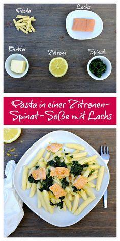 Ihr sucht nach einem schnellen & leckeren Rezept aus nur 5 Zutaten? Wie wäre es mit dieser Pasta in einer super schnellen Zitronen-Spinat-Sauce und gebratenen Lachs? So köstlich. :)