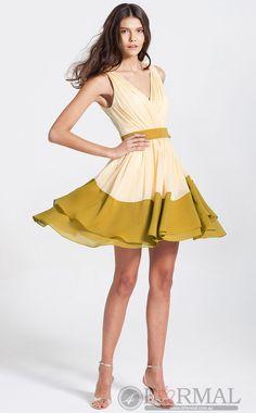 V-Neck Short Yellow School Style Formal Dress -BDFORMAL-100 at 4formal.com.au