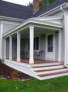 Find and save ideas about Front porch design ideas. See more ideas about Front porch remodel, Front porches and Front porch addition. Front Porch Steps, Farmhouse Front Porches, Front Porch Design, Side Porch, Porch Designs, Front Porch Posts, Porch Pillars, Deck Design, Front Porch Addition