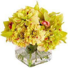 Faux Dahlia & Orchid Arrangement, New Growth Designs