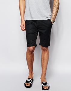 $33, Black Shorts: Asos Brand Chino Shorts In Skinny Fit In Mid Length. Sold by Asos. Click for more info: https://lookastic.com/men/shop_items/219461/redirect