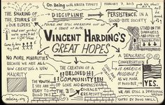 Sketchnotes on Vincent Harding Interviewng by On Being, via Flickr