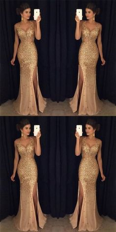 1392ae063e4 Most Popular Strap Rhinestone Long Mermaid Side Slit Gorgeous Sparkle Prom  Dresses C150