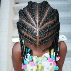 Perfect cornrows with pink, white and turquoise GaBBY Bows by The Fro Show!