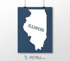 Illinois print - Illinois art - Illinois poster - Illinois wall art - Illinois printable poster - Illinois map - Illinois navy art - Instant by Exit8Creatives on Etsy