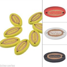 """50PCs Wooden Connector Oval Yellow Letter """"fashion"""" 2 Holes Sewing DIY 1.1x2cm"""