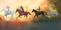 Using the Bible and the events of modern history, identify the 4 horsemen of the Apocalypse. Unlock the meaning of this vision from the book of Revelation. Les Quatre Cavaliers, Horsemen Of The Apocalypse, Pale Horse, Warrior King, Bible Pictures, Biblical Art, Jehovah's Witnesses, Modern History, Black Horses