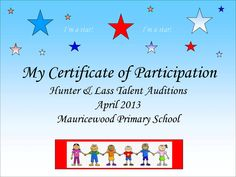 Talent Show Certificate