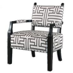 Off White With Dark Gray Terica Fabric Chair Designed by Carolyn Kinder