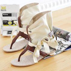 Korean Fashion Cross Straps Slip Resistant Cool Sweet Lady Flat Scandals