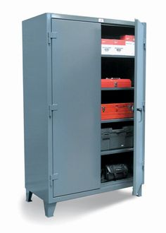 Floor Model - Our standard heavy duty 12 gauge cabinet. This includes 14 gauge shelves that can be adjusted in 2 inch increments. 3-point locking device can be locked with a standard padlock.