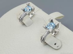 Materials: topaz, cubic zirconia, silver Size: Length 20mm ##handmade Cubic Zirconia Earrings, Topaz Earrings, Silver Earrings, Sapphire, Bracelets, Handmade, Free, Jewelry, Products