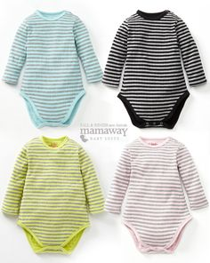 Warm Double Weave 100% cotton Stripey Long Sleeve Baby Bodysuit.